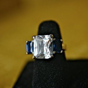 Cubic Zirconia 14kt gold plated ring ~ size 5